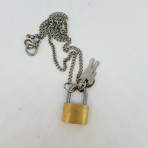 Gold lock and keys necklace new